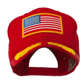 Oak Leaves and American Gold Flag Patch Cap - Red