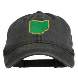 Ohio State Map Embroidered Washed Cotton Cap - Black