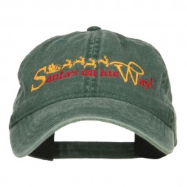 Santa on His Way Embroidered Washed Cap