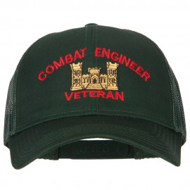 Combat Engineer Veteran Embroidered Solid Cotton Mesh Pro Cap