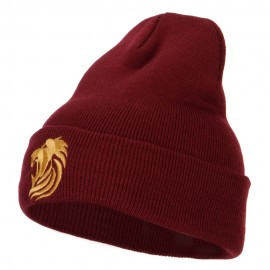 Gold Lion Embroidered Long Cuffed Beanie