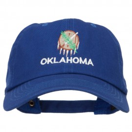 Oklahoma State Flag Embroidered Unstructured Washed Cap