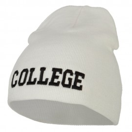 College Embroidered Knitted Short Beanie