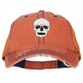 Halloween Skeleton Skull Embroidered Low Profile Cotton Mesh Cap