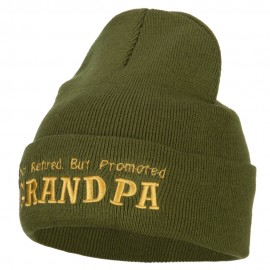 Not Retired Promoted Grandpa Embroidered Knitted Long Beanie