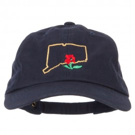 Connecticut Mountain Laurel with Map Embroidered Unstructured Washed Cap