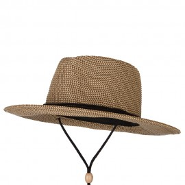 Women's Paper Braid Large Brim Fedora Hat with Chin Cord