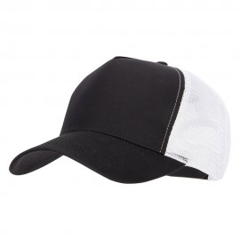 5 Panel High Profile Poly Cotton Twill Mesh Trucker Cap