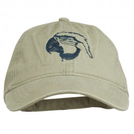 Outline Image of a Parrot Embroidered Washed Cap