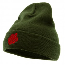 Rose Print Embroidered 12 Inch Long Knitted Beanie