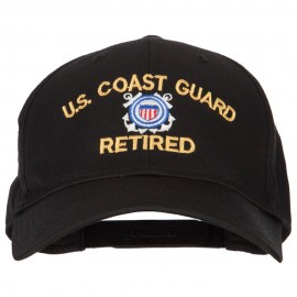 US Coast Guard Retired Logo Embroidered Solid Cotton Pro Style Cap