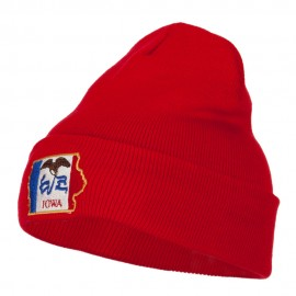 Iowa State Flag Map Embroidered Long Beanie