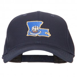 Louisiana State Flag Map Embroidered Solid Cotton Pro Cap