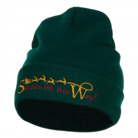 Santa's On His Way Embroidered Long Beanie