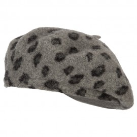 Wool Blend Beret Hat with Animal Print