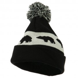 Pom Pom Accented Knitted Bear Hat