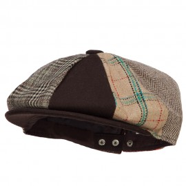 8 Panel Wool Polyester Snap Back Newsboy Hat