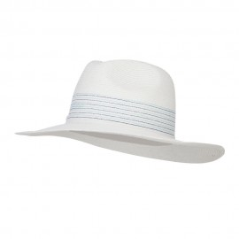Panama Hat with Stones Flower - White