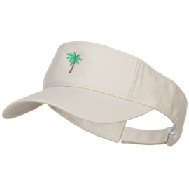 Palm Tree Embroidered Cotton Washed Visor - Stone