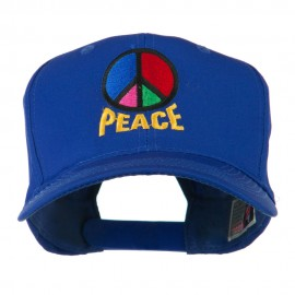 Peace Symbol Embroidered Cap - Royal
