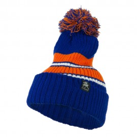 Two Tone Striped Knit Pom Beanie