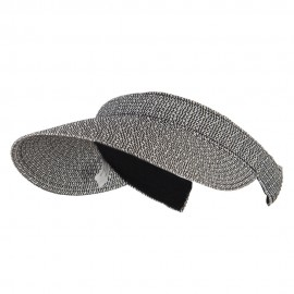 UPF 50+ Paper Braid Clip On Visor - Black White