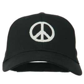Peace Symbol Embroidered Cotton Twill Cap - Black