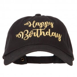 Glitter Happy Birthday Embroidered Unstructured Washed Cap