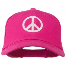 Peace Symbol Embroidered Cotton Twill Cap - Hot Pink