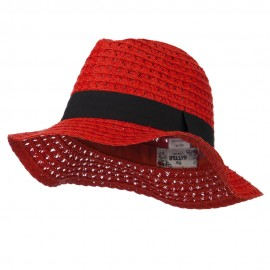 Paper Crushable Panama Hat - Red