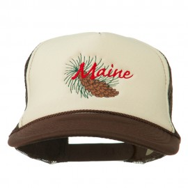 Maine State Pine Cone Tassel Flower Embroidered Cap