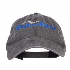 Grandpa Superhero Embroidered Washed Cap