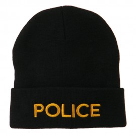 Police Embroidered Long Cuff Beanie - Black