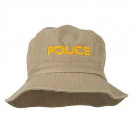 Police Embroidered Pigment Dyed Bucket Hat