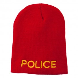 Police Embroidered Short Beanie