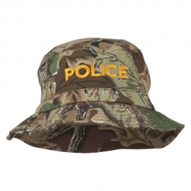 Police Embroidered Pigment Dyed Bucket Hat - Camo