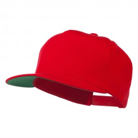 5 Panel Flat Bill Twill Snapback Solid Cap - Red