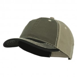 6 Panel Garment Washed Chino Twill Cap - Olive Black