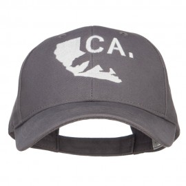 California Map Bear Embroidered Big Cotton Cap - Charcoal