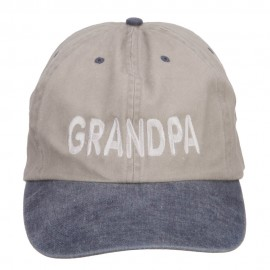 Grandpa Embroidered Big Washed Cap - Putty Navy