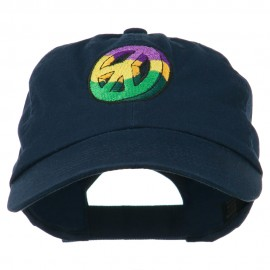 Peace Embroidered Pigment Dyed Cotton Cap - Navy