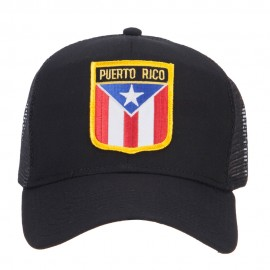 Puerto Rico Flag Shield Patched Mesh Cap - Black
