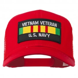 Vietnam Navy Veteran Patched Mesh Cap - Red
