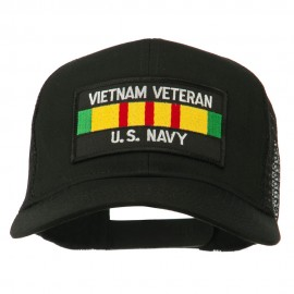 Vietnam Navy Veteran Patched Mesh Cap - Black