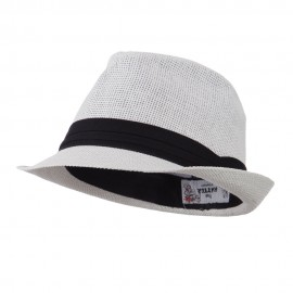 Pleated Hat Band Straw Fedora Hat - White