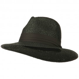 Panama Straw Fedora Hat - Black