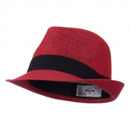 Pleated Hat Band Straw Fedora Hat - Red