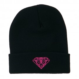Hot Pink Diamond Embroidered Long Cuff Beanie