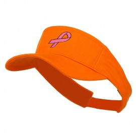 Hot Pink Ribbon Breast Cancer Embroidered Visor