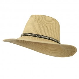Jewel Band Panama Fedora - Natural